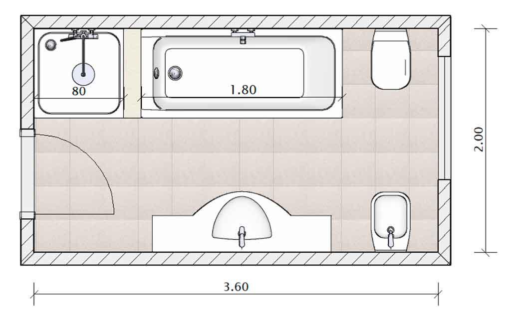 progetto bagno disegno