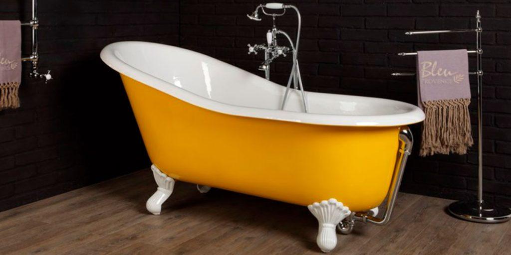 vasca bagno ghisa giallo piedini