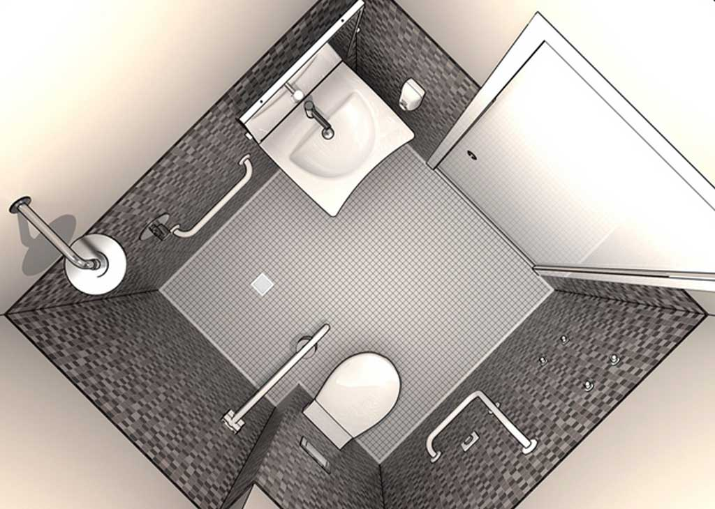 bagno quadrato disabili