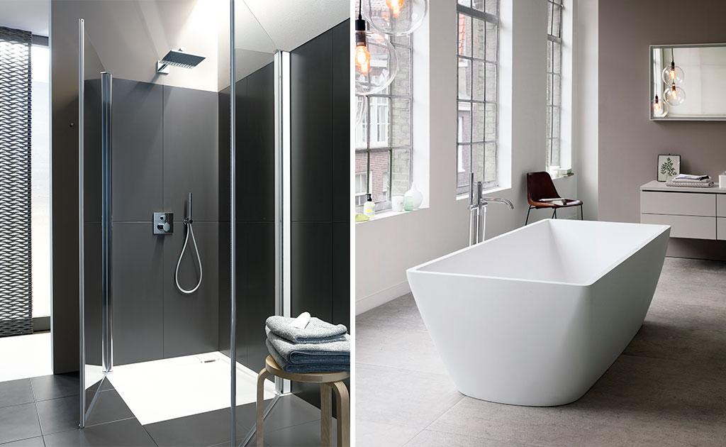 box doccia e vasca centro stanza