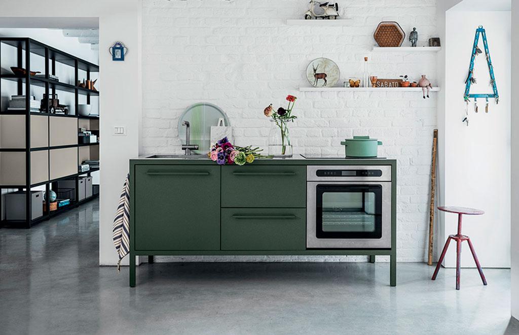 cucina freestanding verde