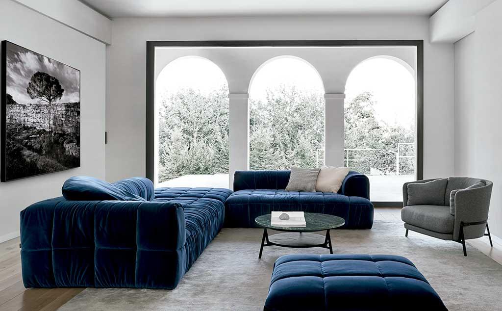 divano strips blu