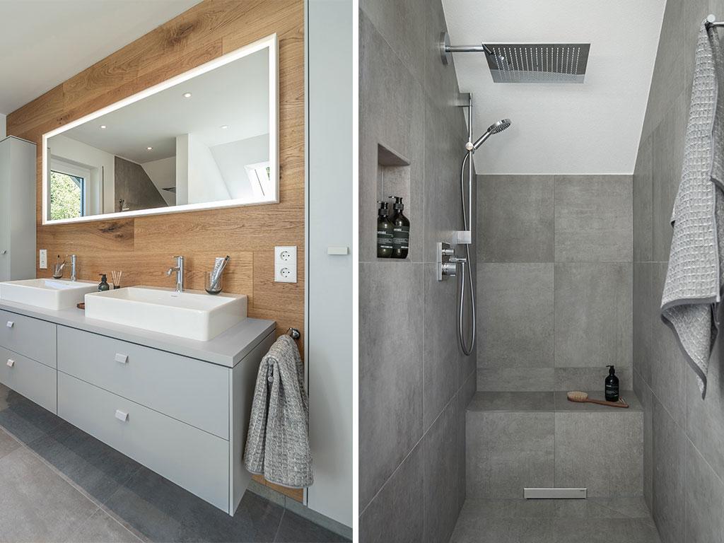 doppio lavabo e doccia nicchia
