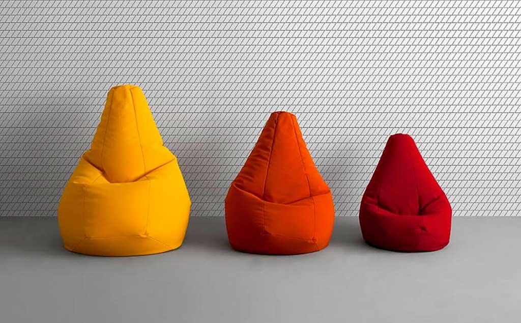 poltrona sacco colorata rosso giallo