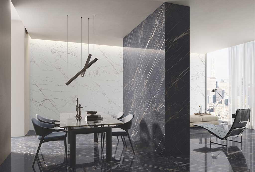 rivestimento effetto marmo nero bianco venature