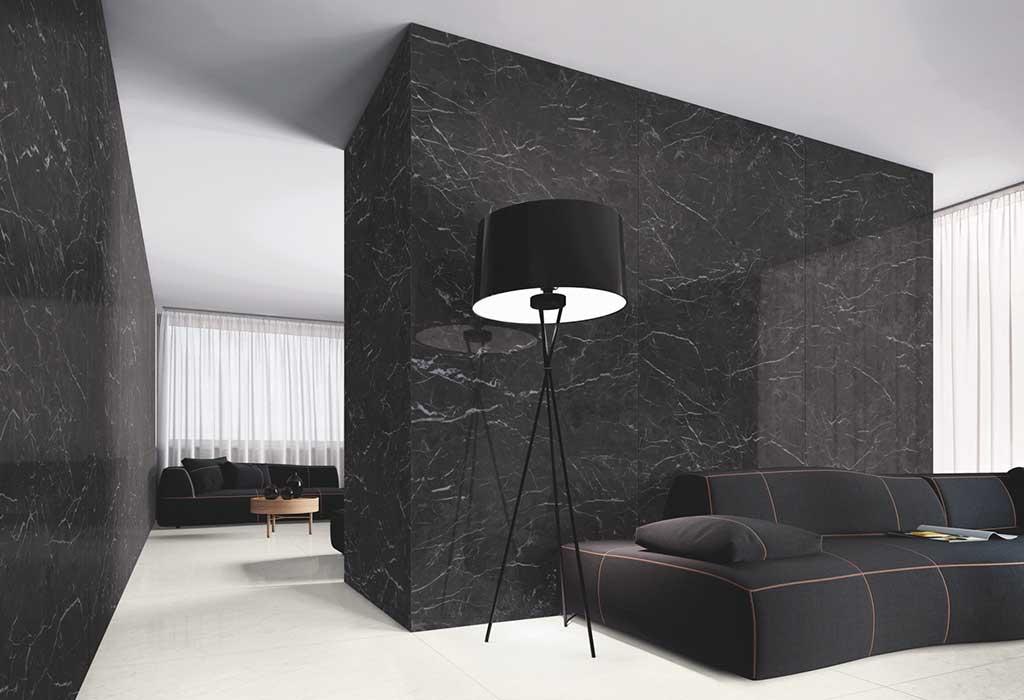 rivestimento parete nero marmo