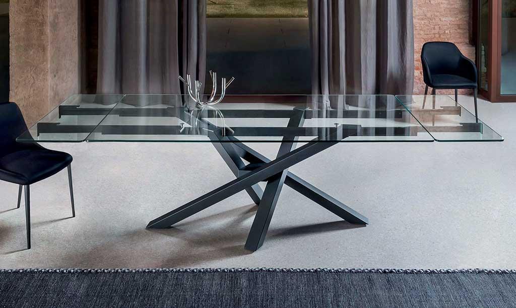 tavolo allungabile vetro piedistallo