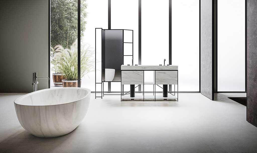 vasca freestanding effetto marmo