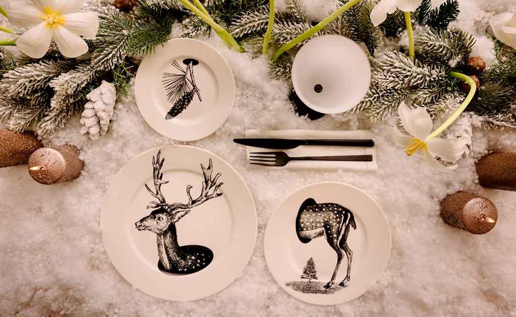 tavola natale piatti animali