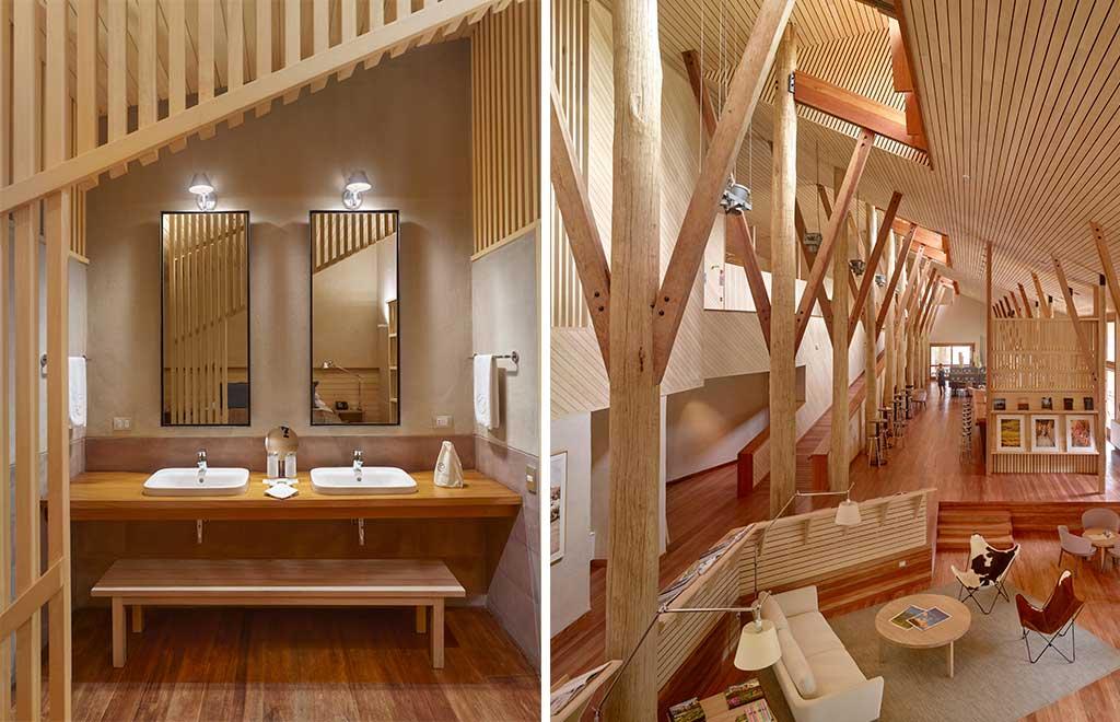 bagno e hall hotel legno