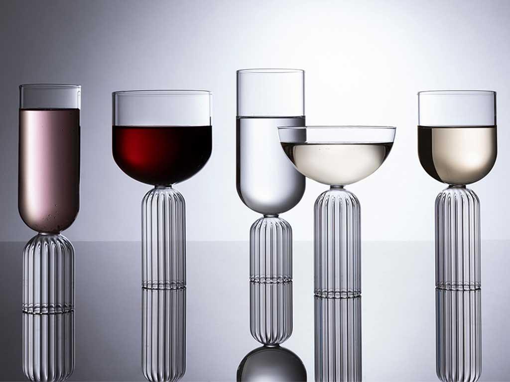 bicchieri base vetro scanalato