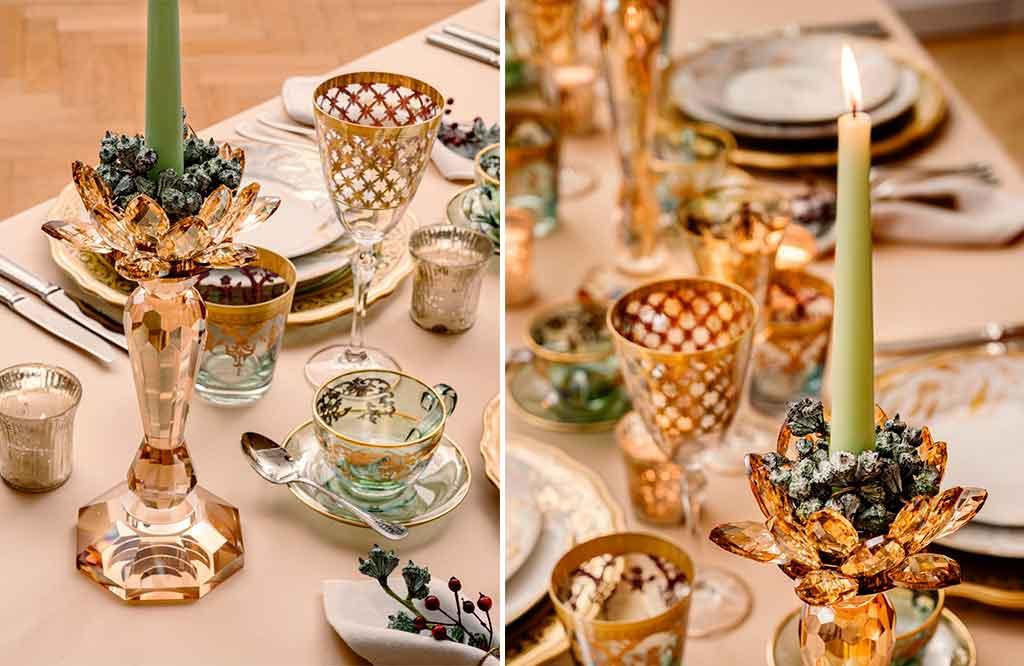 candeliere vetro tavola natale