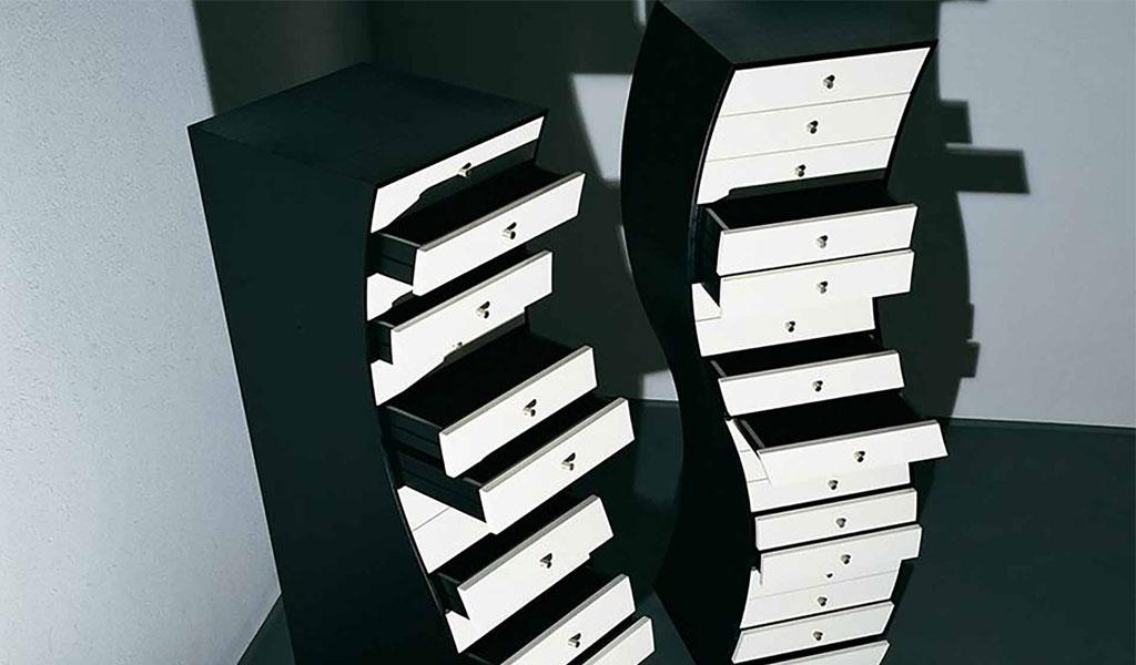 cassettiera ondulata bianco e nero