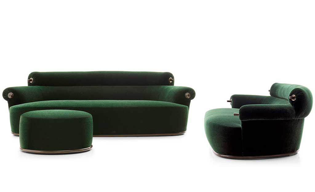 divano e poltrona verde caccia dominioni