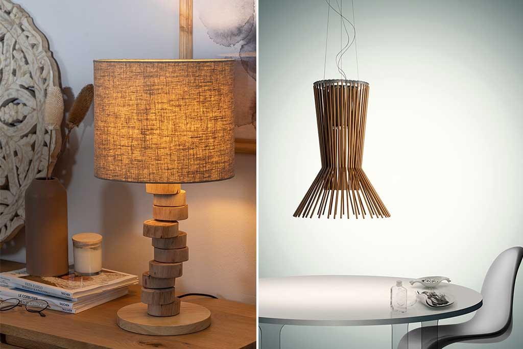 lampada tavolo legno e sospensione rame