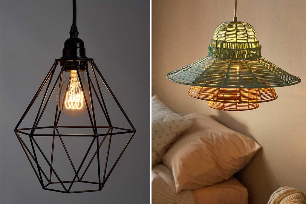 lampadario rattan e sospensione metallo