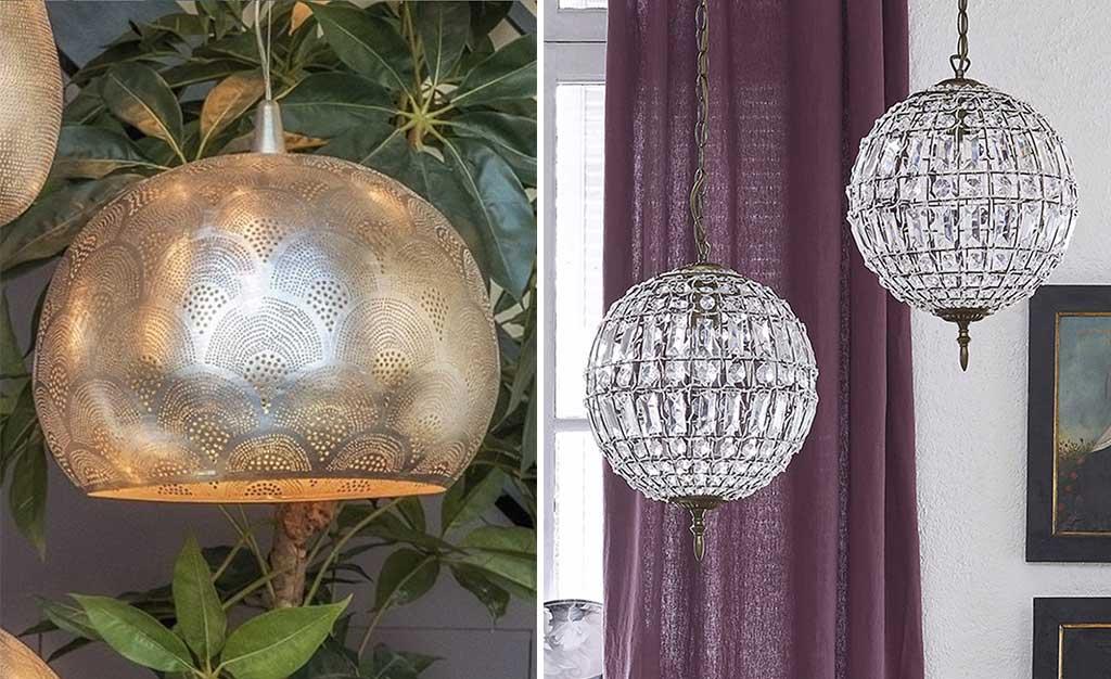lampade sospensione metallo e cristallo