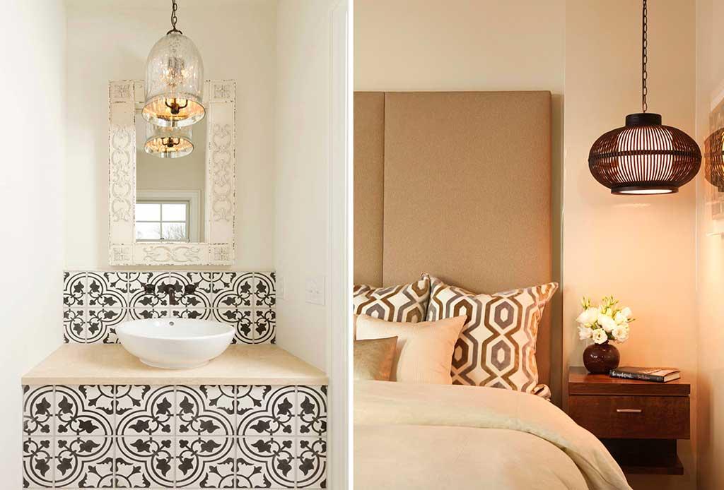 lampade sospese bagno e camera letto