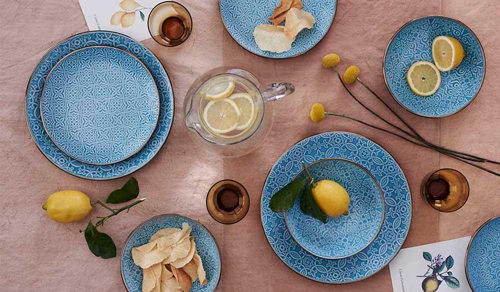 piatti blu oro damasco
