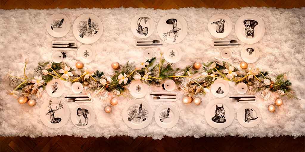 tavola natale tovaglia neve