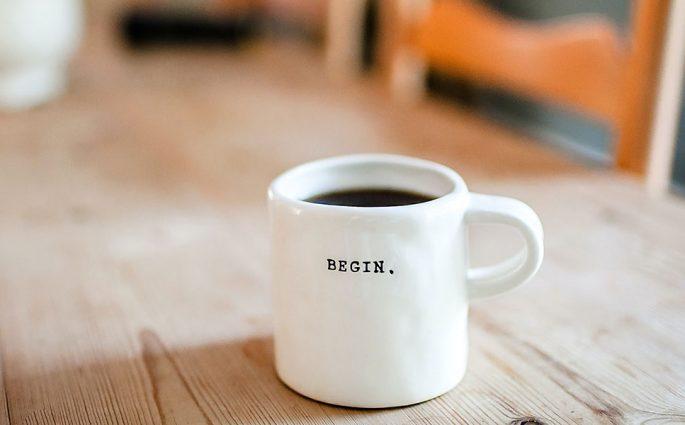 tazzina caffe scritta begin