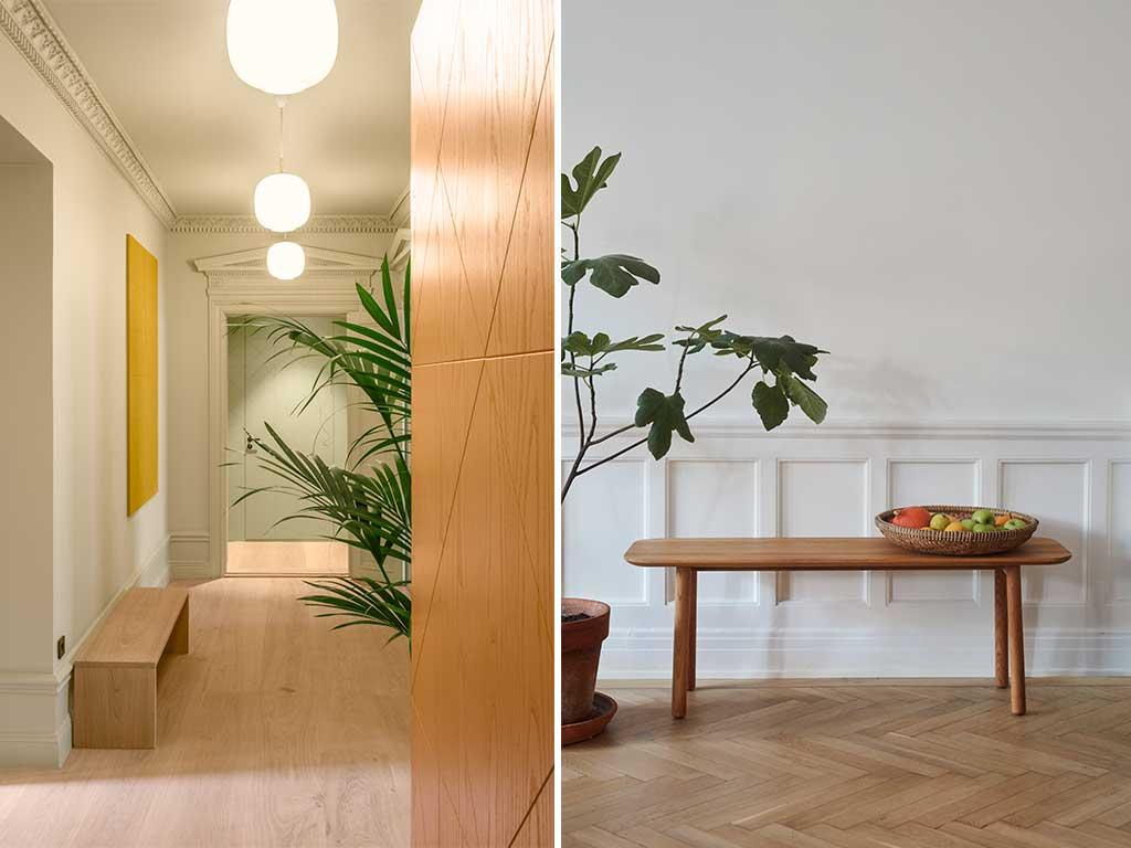 vista corridoio e panca legno