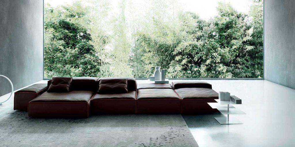 divano modulare pelle nero