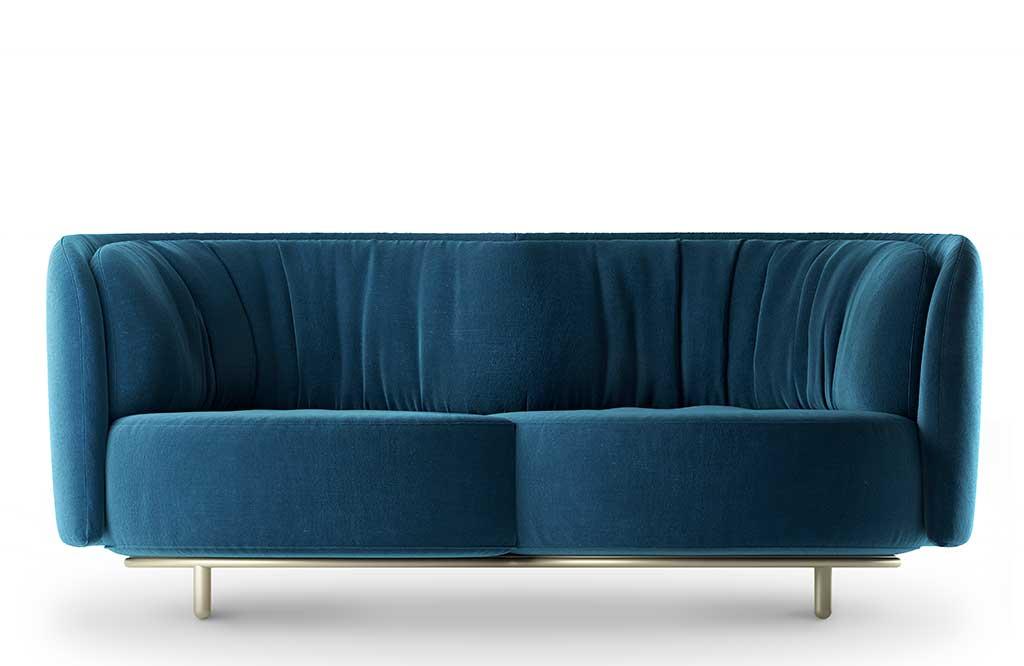 divano due posti velluto blu