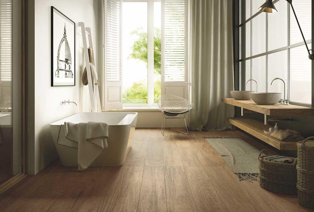 gres effetto legno grande formato bagno