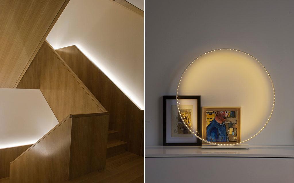 led scale e lampada circolare