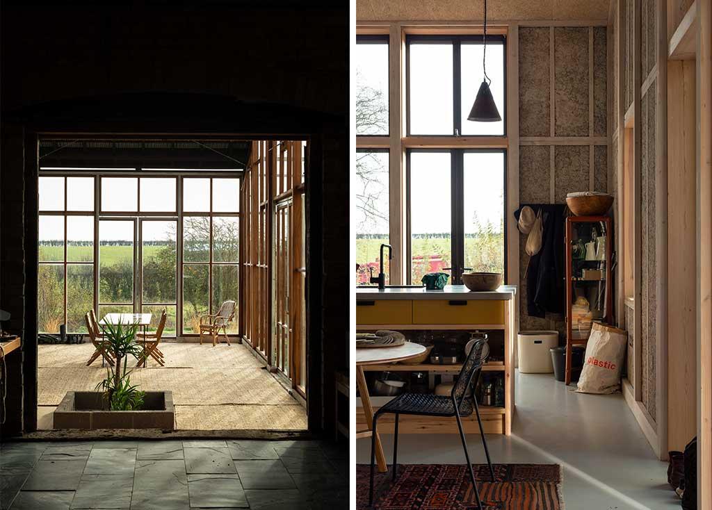 living e cucina casa legno