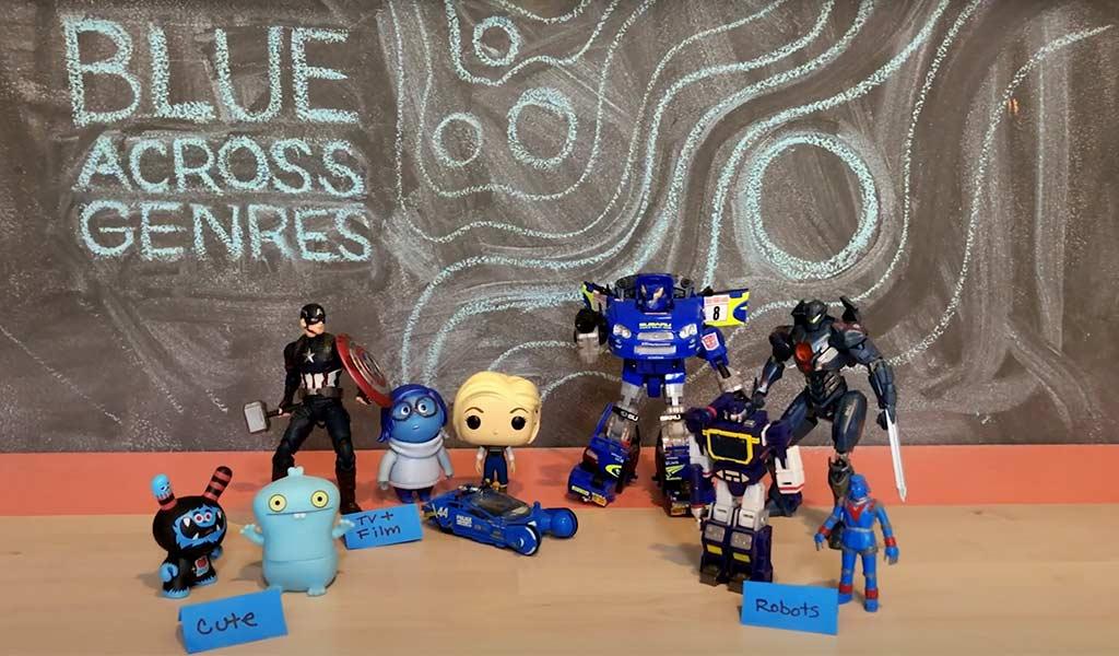 allestimento giocattoli blu