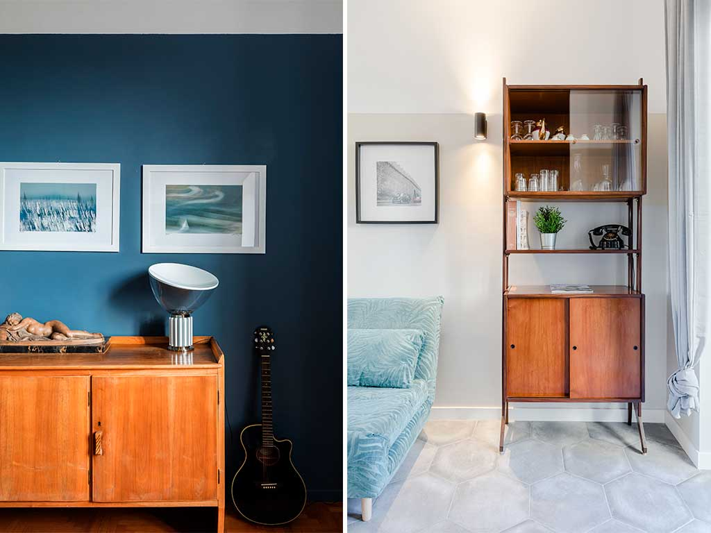 parete grigio e blu ristrutturazione