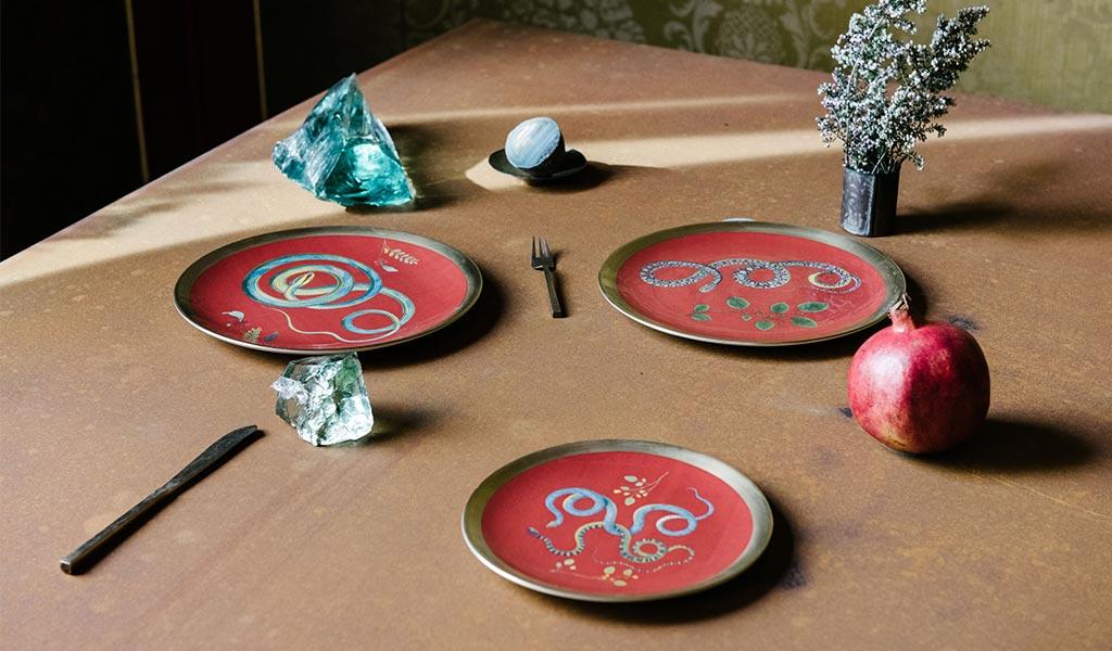 piatti ceramica dipinti serpi