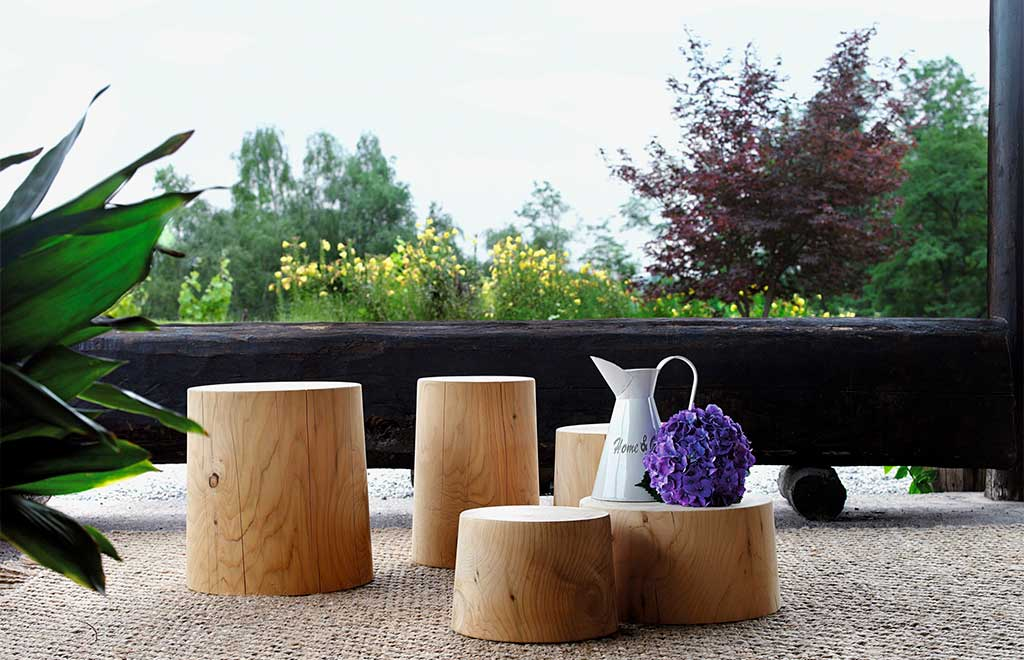 pouf tronco legno vivo