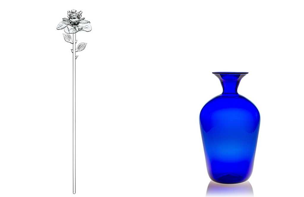 rosa murano e vaso blu