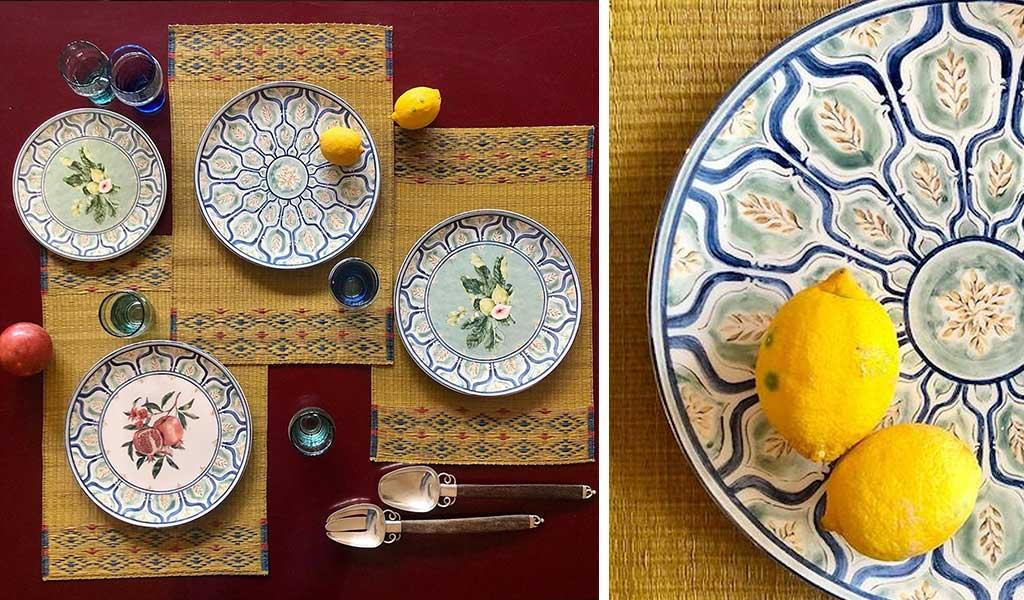 allestimento tavola con piatti in ceramica dipinti
