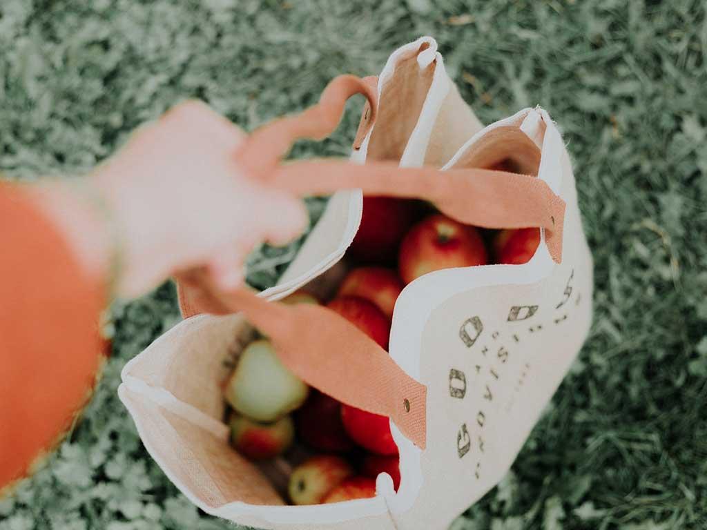 borsa piena mele rosse
