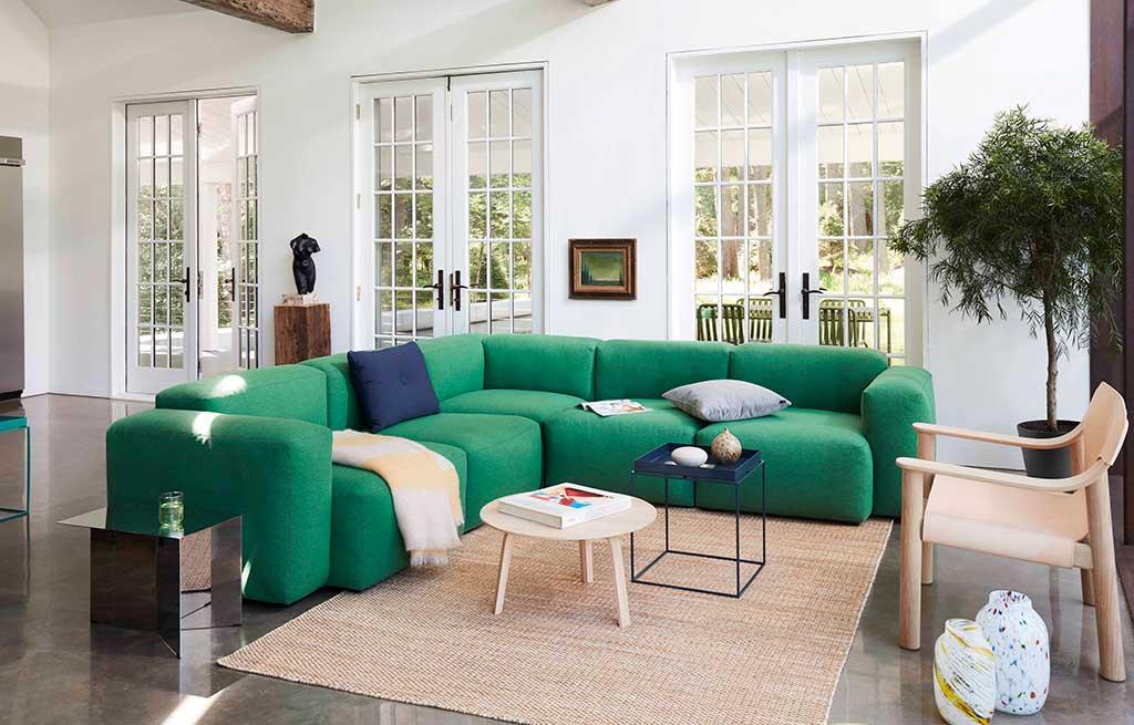 divano angolare verde bordi arrotondati
