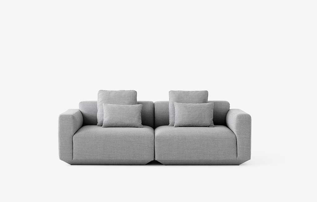 divano componibile tessuto grigio