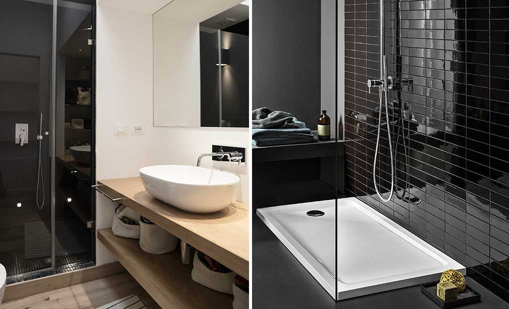 doccia piastrelle nero e piatto doccia rettangolare grande