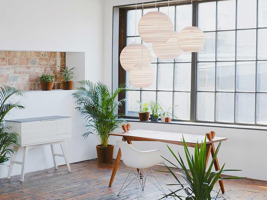 lampadari sfera cartone bianco