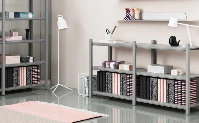 libreria grande e piccola grigio