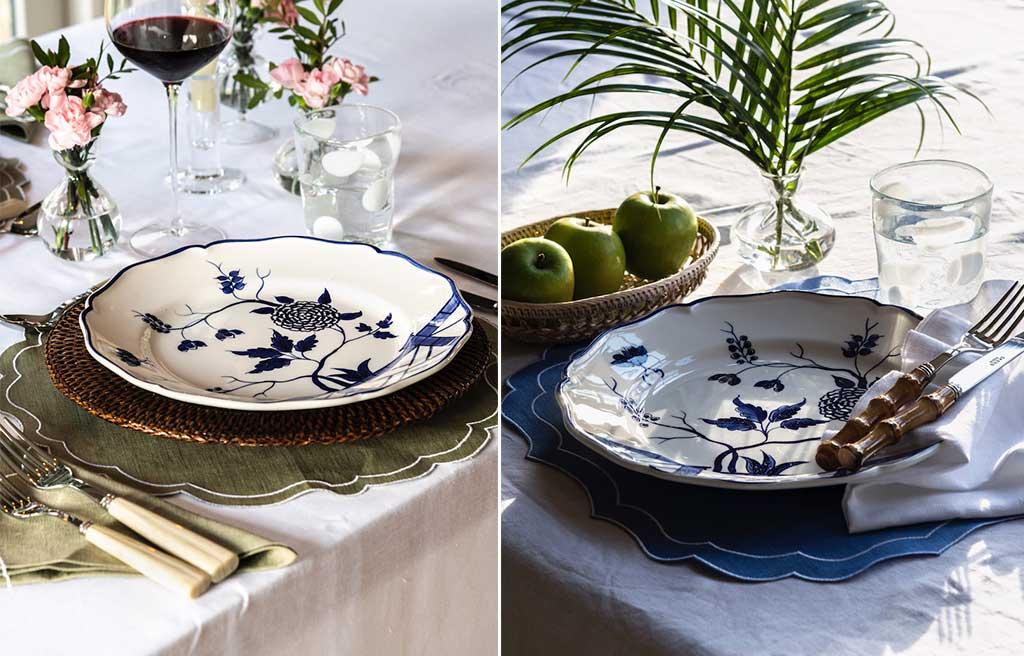 piatti dipinti mano decoro blu piante