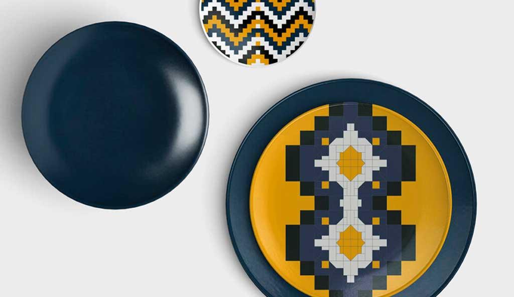piatti set decoro geometrico