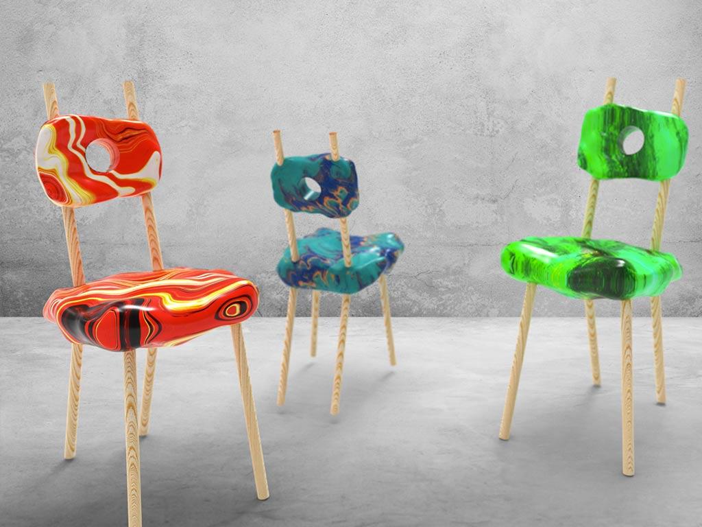 render sedie rossa blu e verde