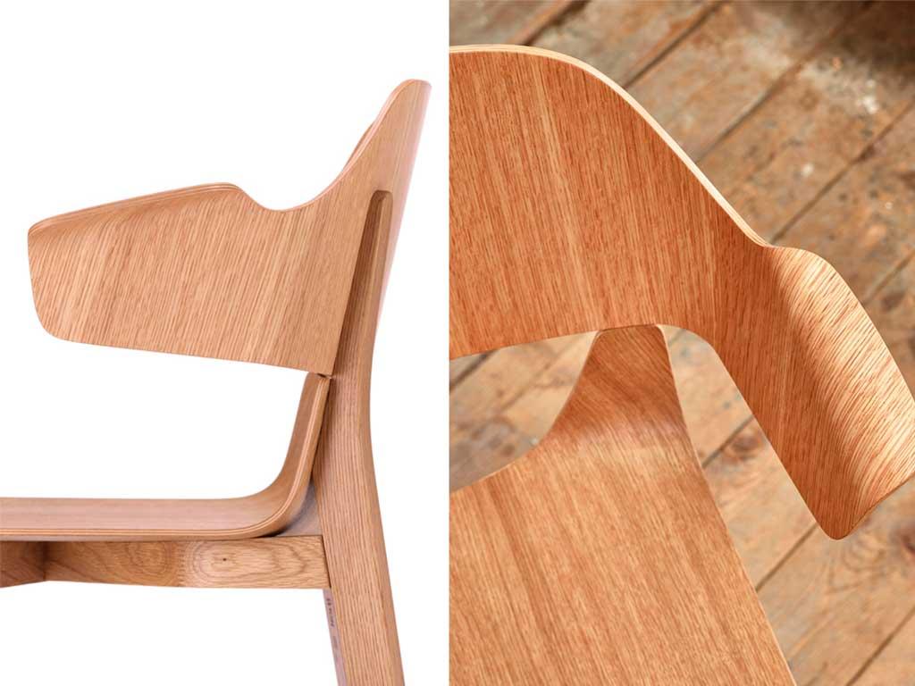 dettaglio schienale bracciolo curvati legno