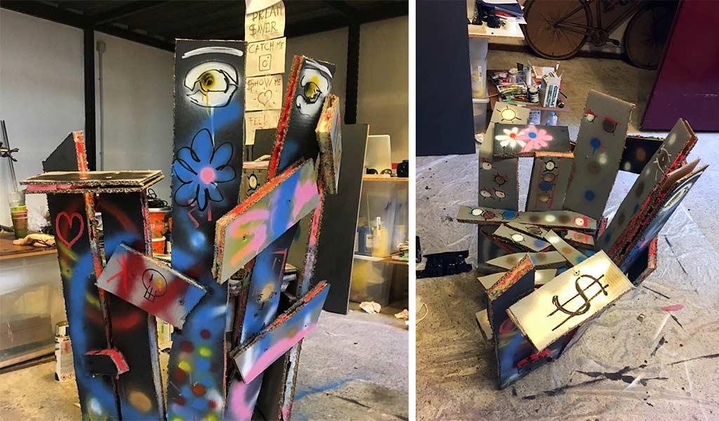 sedia street art materiali di recupero