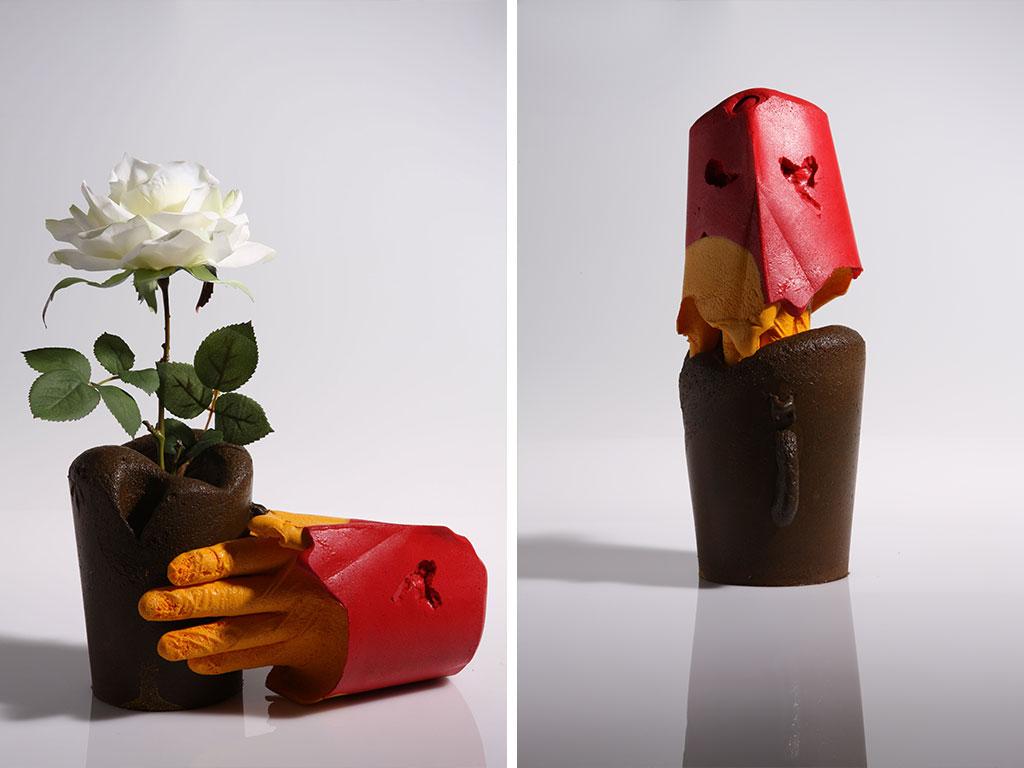 vaso fiori scultura mano