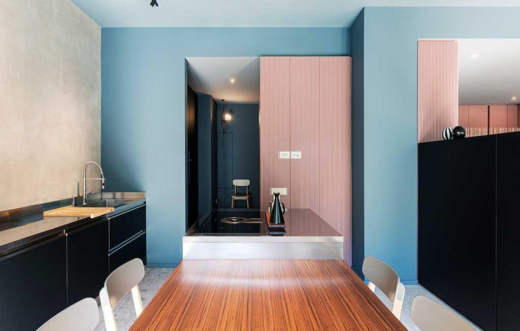 zona cucina pareti colorate